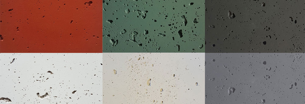 Pitted Concrete colourways: Lava lava, Bauhaus, Domino, Half-stonewashed, Ivory and Concrete