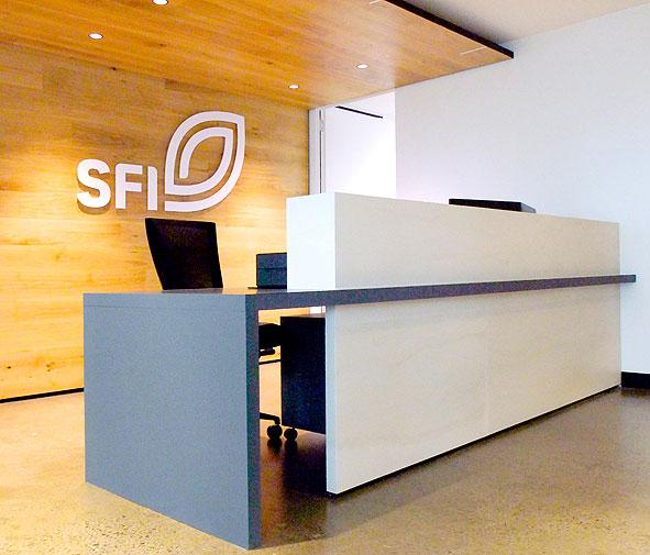 SFI reception desk Stonini Delta Creme Brulee